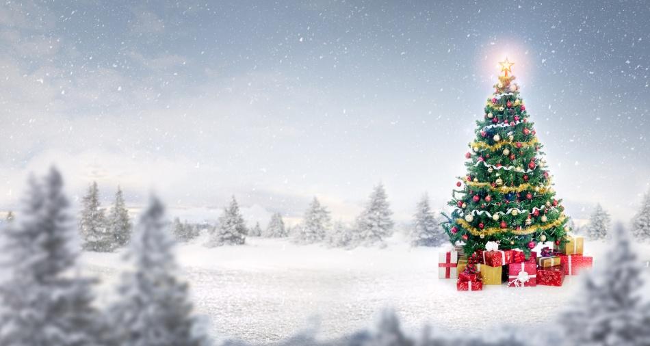 magic shiny Christmas tree in snow outdoor